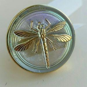 Amy Kahn Russell Ring Dragonfly 7 Czech Glass